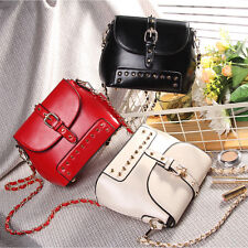 Women Crossbody Shoulder Bag Tote Purse Rivet Punk Tassels Handbag PU 4 colors