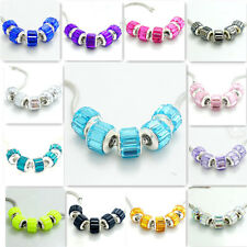Fashion 5PCS crystal Silver Spacer European Charm BeadS Fit Necklace Bracelet