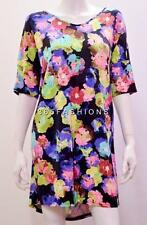 PLUS SIZE DIGITAL ABSTRACT FLORAL PRINT TUNIC DRESS TOP MULTI 18 20 22/24 26/28