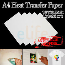 A4 Heat Iron on Transfer Paper Inkjet Printer Light Dark Cotton T-Shirt Printing