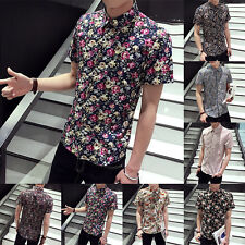 New Brand Floral Mens Summer Shirts Short Sleeve Slim Fit Casual T Shirt Clothes