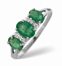 9K White Gold 0.03ct Diamond & 1.06ct Emerald Ring Size K - S Made in London
