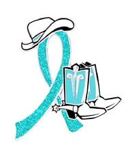 Teal Ribbon Awareness Lapel Pin Western Cowboy Boots Many Cancer Causes New