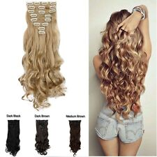 Real Thick Ombre Full Head Clip In Hair Extensions Brown Black Long New Hair lk9