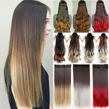 Pre Ombre Clip In Hair Extensions Half Full Head Dip Dye Two Tone For Human LS7