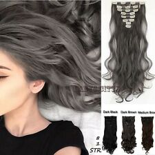 UK Hair Extensions 18 Clips 8 Piece Full Head Long Brown Gray Straight Curly Lcx