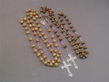 Rosary Necklace Wooden Bead Silver Tone Crucifix Center Chain LOW STOCK!! Gift!