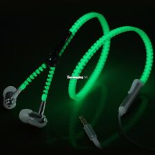 3.5mm Tangle Free Zipper In-Ear Headphone Luminous Fashion Mic Earphones ES9P