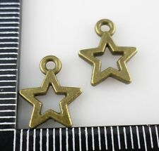 60/500pcs Ancient Bronze Retro Pentacle Star Charms Pendants 10.5x13mm