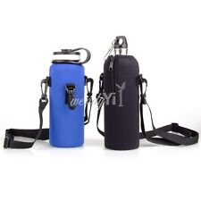 1L Camping Water Bottle Carrier Insulated Cover Bag Pouch Holder +Shoulder Strap