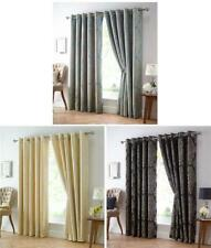 EYELET STYLE LINED CURTAINS - BLUE & GOLD / GOLD / BLACK & GOLD JACQUARD