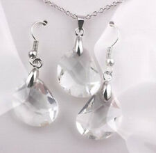 Gold Plated Shiny Womens Necklace Earrings Fashion Crystal White Jewelry Set