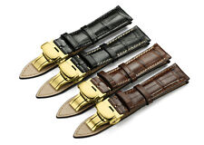 18-22mm Genuine Alligator Leather Watch Band Deployant Clasp Strap For Longines