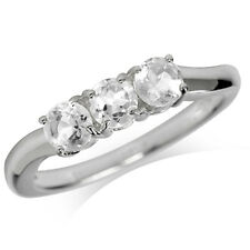 3-Stone Natural White Topaz 925 Sterling Silver Ring