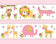 Safari Nursery Decor Wallpaper Border Decals Girl Jungle Animal Wall Art Sticker