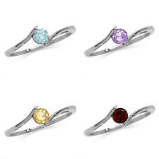 Topaz/Amethyst/Citrine/Garnet White Gold Plated 925 Sterling Silver Promise Ring