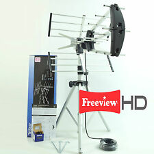 Digital TV Freeview Aerial HD, 10m RG6 coax Tripod kit portable camping caravan