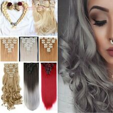 100% real Natural Full Head 18 Clips Clip in Hair Extensions on 40 colors f82