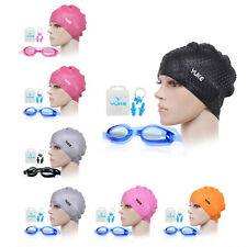 YUKE Women Men Silicone Swimming Long Hair Cap Ear Wrap Waterproof Hat +Goggles