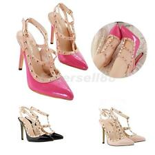 Sexy Fashion Women Pointy Toe Studded Buckle Strap Strappy High Heel Sandal