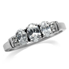 3-Stone White Cubic Zirconia (CZ) Gold Plated 925 Sterling Silver Ring