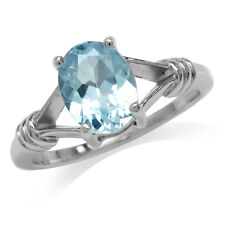 2.28ct. Natural Blue Topaz 925 Sterling Silver Solitaire Ring