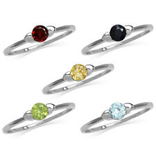 Topaz/Peridot/Sapphire/Garnet/Citrine White Gold Plated 925 Sterling Silver Ring