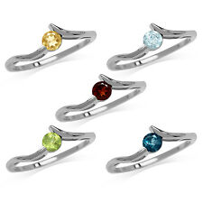 Garnet, Topaz, Citrine, Peridot 925 Sterling Silver White Gold Plated Ring
