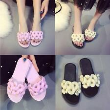 Female Girl Jelly color Flower Flat Plastic Beach Shoes Casual Sandals Slipper