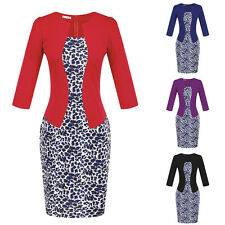 Elegant Women Lady Bodycon Cocktail Party Evening Office Leopard Pencil Dress
