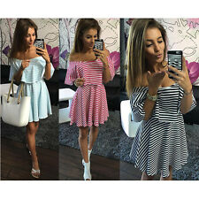 Sexy Womens Fashion Off Shoulder Striped Cocktail Short Mini Dress Evening Party