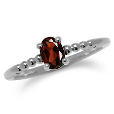 Natural Garnet 925 Sterling Silver Stack/Stackable Solitaire Ring