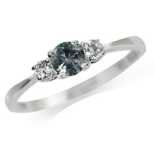Simulated Color Change Alexandrite Doublet & White CZ 925 Sterling Silver Ring