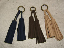 Lucky Brand Suede Leather & Brass Double Tassel Handbag Tag, FOB, Color Choice