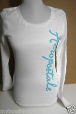 AEROPOSTALE WHITE THERMAL LONG SLEEVES TEE TOP W/ LOGO ON THE SIDE NEW NWT