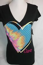 AEROPOSTALE TOP BLACK V NECK PRINTED TEE TOP WITH LOGO NEW NWT