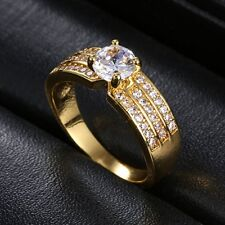 Size 7,8,9 Fashion Woman's White Sapphire 18K Yellow Gold Filled Wedding Ring