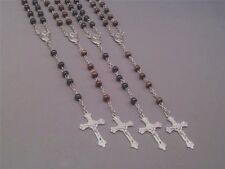 RosaryNecklace Wood Bead Silver Chain Crucifix St Theresa Center BLACK BROWN