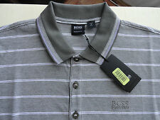 NWT HUGO BOSS JANIS MENS POLO SHIRT LIGHT GRAY STRIPES $105+ Sz L