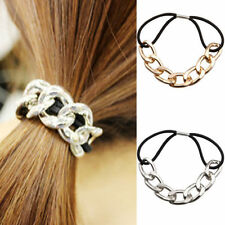 Fashion Elastic Hair Ties Band Womens Metal Ropes Ring Scrunchie Ponytail Holder