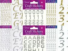 Glitter Craft Stickers Alphabet Letters & Numbers Silver Gold Card Craft