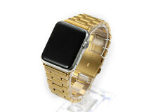 Golden Stainless Steel Solid End Link Deployant Watch Bracelet For Apple iWatch