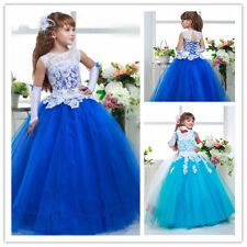 Flower Girl Dresses Princess Pageant Wedding Birthday Prom Party Ball Lace blue