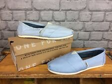 TOMS LADIES CLASSIC CANVAS SLIP II PALE BLUE FLATS CASUAL SUMMER BEACH ALL SIZES