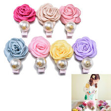 Satin Flower Pearl Clips for Kids Rose Style Clips Hair Accessories Hairpins TO