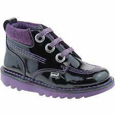 GIRLS INFANT KICKERS KICK HI COLFI PASTEL BLACK PATENT LEATHER LACE BOOTS 113538