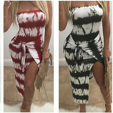 Night Club Women Shoulder Off Striped Boho Tie Dye Bodycon Cocktail Slit Dress M