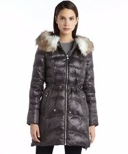 LAUNDRY By SHELLI SEGAL Charcoal Gray Down Faux Fur Hooded Quilted Puffer Coat