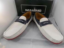 New Men's Masimo White/Navy Faux Leather Fashion Casual Driver Shoes #1262-76