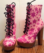 IRON FIST STARSHIP PINK HIGH HEELS PLATFORM BOOTS BOOTIE SHOES LACE UP SIZE 5 &6